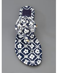 Tory Burch | Floral Print Logo Sandal | Lyst