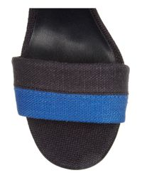 Tory Burch Blue Joelle Striped Canvas Sandals
