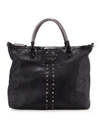 Versace Jeans Black Studtrim Tote Bag