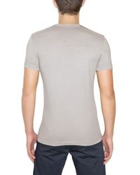 Aquascutum Gray Cotton Jersey Checked Details T-Shirt for men