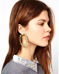 ASOS - Yellow Flower Stone Hoop Earrings - Lyst