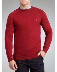 Fred Perry Fred Perry Ceramic Vneck Jumper Red for men