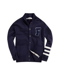 French Connection Blue Tiger Varsity Shawl Cardigan for men