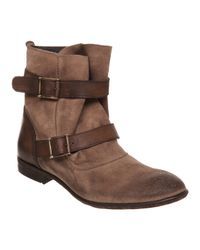 Hudson Jeans Brown Starley Multi Strap Ankle Boot Beige Suedetan Leather