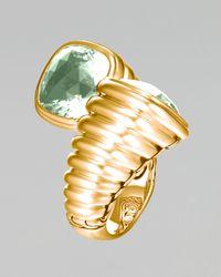 John Hardy - Metallic Gold Bedeg Green Amethyst Bypass Ring - Lyst