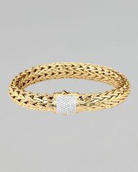 John Hardy Metallic Classic Chain Gold Diamond Bracelet