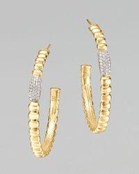 John Hardy - Metallic Gold Bedeg Pave Diamond Medium Hoop Earrings - Lyst