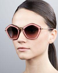 Miu Miu Brown Pentagon Sunglasses