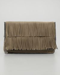 Stella McCartney | Metallic Falabella Foldover Clutch Bag Taupe | Lyst