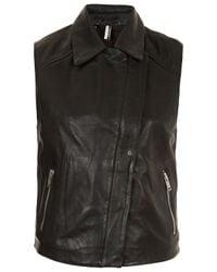 TOPSHOP Black Contrast Leather Sleeveless Biker Jacket