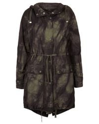 TOPSHOP Green Tiedye Unlined Parka