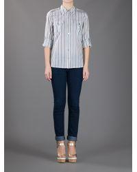 Tory Burch | Gray Contrast Stripe Shirt | Lyst