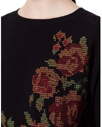 Zara   Floral Cross-Stitched Flower Sweater   Lyst