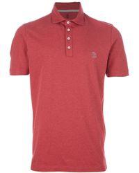 Brunello Cucinelli Red Logo Polo Shirt for men