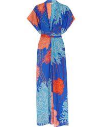 Issa Blue Printed Silk Kimono Maxi Dress