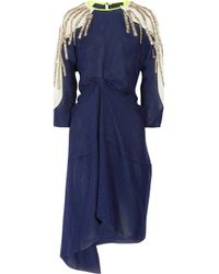 Vionnet | Blue Pleated Wool-felt And Satin Dress | Lyst
