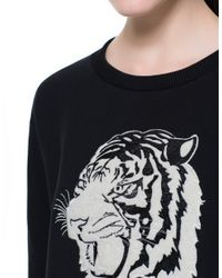 Zara | Black Sweatshirt Top with Animal Embroidery | Lyst