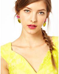 ASOS Multicolor Frosted Flower Stud Earrings