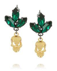 Mawi Green Goldplated Swarovski Crystal Skull Earrings