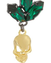 Mawi | Green Goldplated Swarovski Crystal Skull Earrings | Lyst