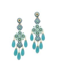 Miguel Ases - Green Long Quartz Chandelier Earrings - Lyst
