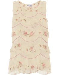 RED Valentino Natural Chiffon-trimmed Woven Cotton Top