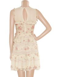 RED Valentino | Natural Tiered Cotton-Guaze and Silk-Chiffon Dress | Lyst
