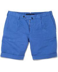 Slowear Blue Incotex Linen and Cottonblend Shorts for men