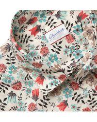 Slowear White Glanshirt Slimfit Printed Cotton Shirt for men