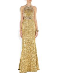 Alexander McQueen | Gold Crystal Embellished Silk-blend Gown | Lyst