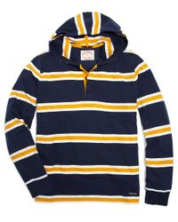 Brooks Brothers Yellow Rugby Stripe Pullover Hoodie for men