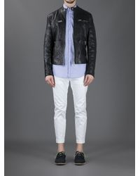 DSquared² Black Classic Leather Jacket for men