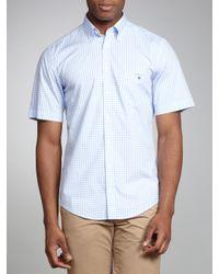 GANT Gant Gingham Check Short Sleeve Shirt Light Blue for men