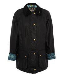 Barbour Blue Navy Beadnell Hera Liberty Print Wax Jacket