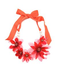Lanvin | Orange Plastic Flower Necklace | Lyst