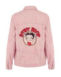 TOPSHOP Pink Moto Betty Boop Denim Jacket