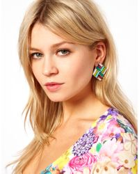 ASOS - Multicolor Disco Square Earring - Lyst
