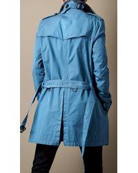 Burberry Brit Blue Mid Length Cotton Gabardine Trench Coat for men