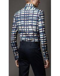 Burberry Blue Check Cotton Shirt for men