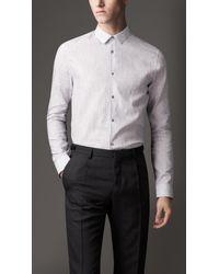 Burberry White Slim Fit Striped Linen Cotton Shirt for men