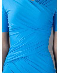 Carven Blue Draped Tshirt Dress
