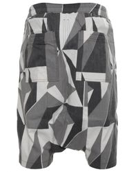 DRKSHDW by Rick Owens Green Camo Patterned Drop Crotch Shorts for men