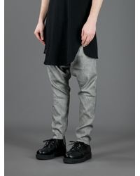 Lost & Found Gray Dropped Crotch Trouser for men