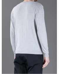 MSGM Gray College Style Sweater for men