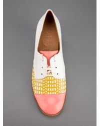 Chie Mihara White Low Heel Lace Up Shoes