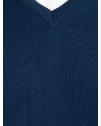 John Lewis Blue John Lewis Made in Italy Cotton Cashmere Vneck Jumper Navy for men