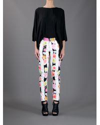 MSGM White Flower Stripe Trouser