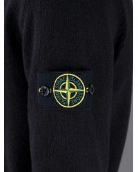 Stone Island Black Ribbed Longsleeve Polo Shirt for men