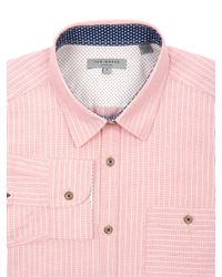 Thomas Pink Ted Baker Ewonbee Stripe Long Sleeve Shirt Red for men