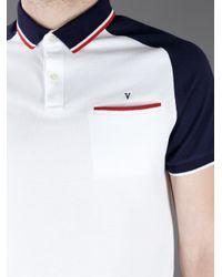 Valentino White Raglan Sleeved Polo Shirt for men